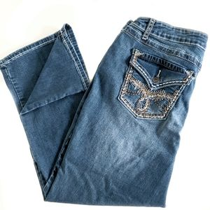 Earl Stitched Pocket Blue Denim Distressed Jeans